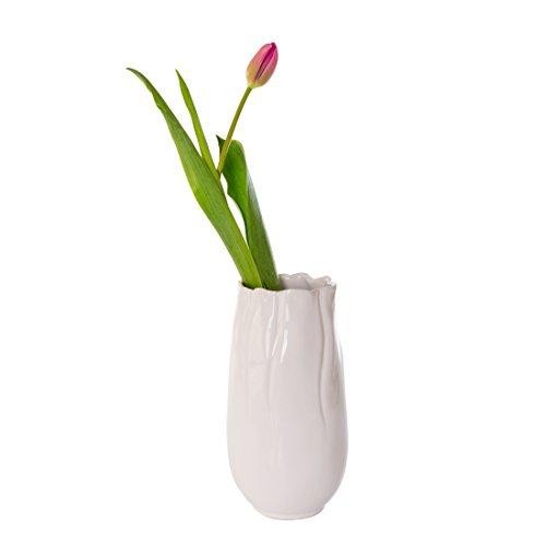 Keramikvase weiß Ø13.5cm * H25.5cm Blumenvase Tischvase Blumen Vase Keramik Dekovase