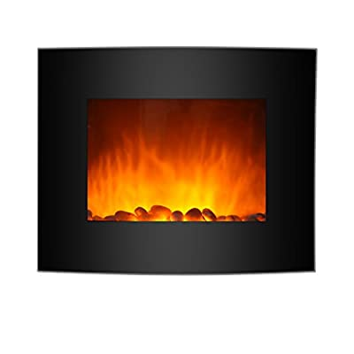 Finether 1800W Modern Wall Mounted Electric Fireplace Heater with 7 Color Changeable 3D LED Backlight/Remote Control/Black