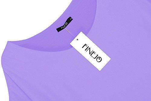 Zeagoo Damen Sommer Casual Loose Fit Kurzarm Fledermaus Batwing T-Shirt Shirt Chiffon Top Bluse Helllila