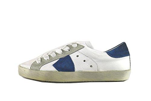 PHILIPPE MODEL sneakers bambino bianco pelle blu camoscio AH966 (32 EU)