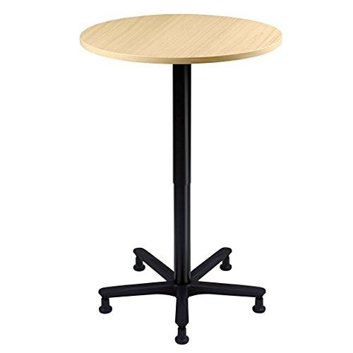 DR-Büro runder Säulenhubtisch stufenlos höhenverstellbar 72 - 114 cm - Durchmesser 80 cm - Meetingtisch Gestell schwarz - mit Rollen und Gleitern,...