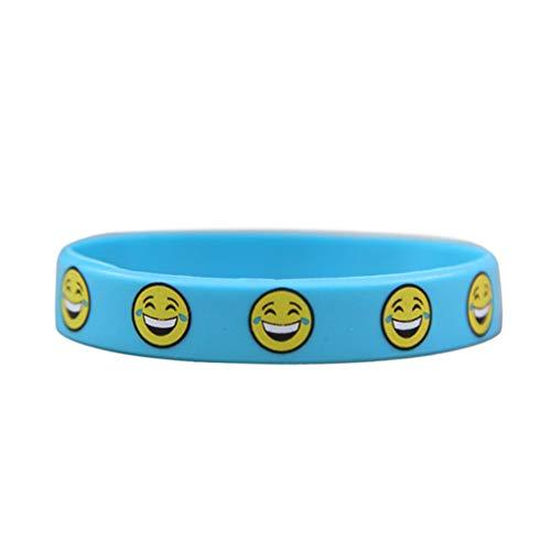 ji Cartoon Smiley Armband für Kinder Kinder Armreifen Schmuck Silikon Handgelenk Band Partei Liefert ()