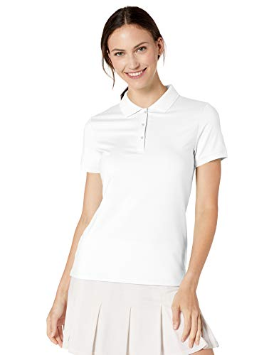 Amazon Essentials Damen-Poloshirt mit kurzen Ärmeln, Performance, White, S