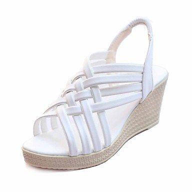 Sandali Summer Club calzature outdoor in similpelle Office & Carriera Dress tacco piatto nero oro champagne a piedi White