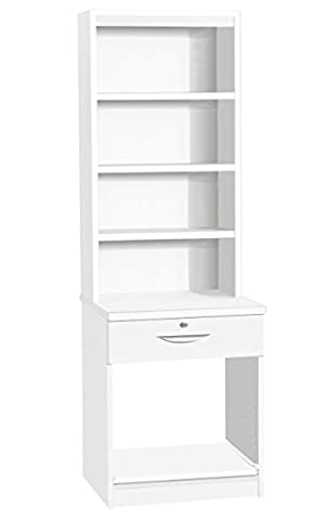 Home Office Furniture UK Desk with Drawer Shelf Stand for Printer HUTCH, Wood, White, satin Profile,