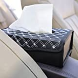 #8: NIKAVI Portable Leather Rectangular Tissue Cover Box Holders Case Pumping Paper Car Hotel Home Gift (WHITE LINE)