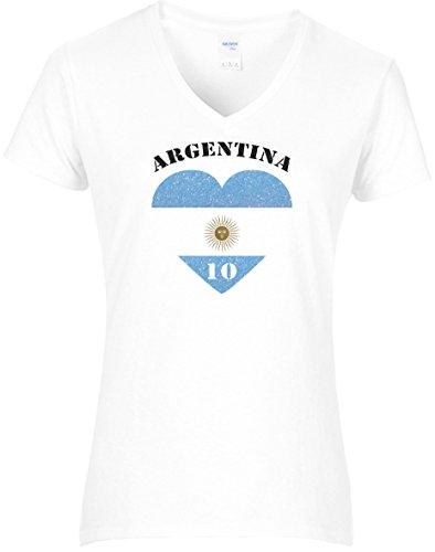 Damen WM Shirt Argentinien Fussball Glitzeraufdruck Herz Argentina Nummer 10 2018, T-Shirt, Grösse XXL, weiß