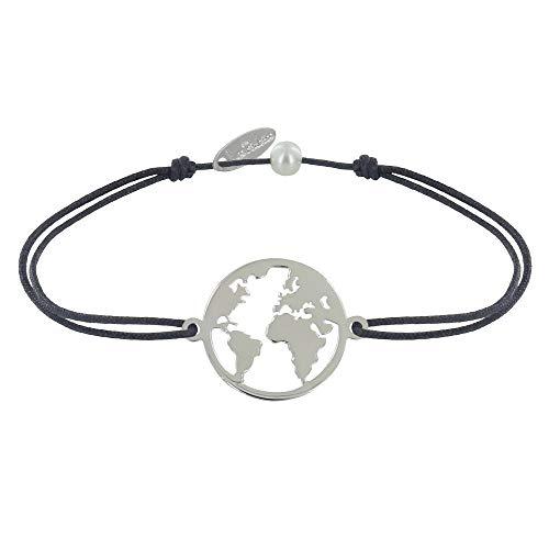 Frauen Und Erde (Schmuck Les Poulettes - Armband Link Silber Runde Medaille Weltkarte - Grau)