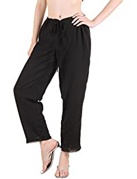 Ayaany Black Long Flare Plazzo Look Trouser