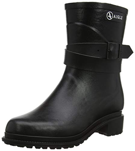 Aigle Damen Macadames Mid Fur Gummistiefel, Schwarz (Noir), 37 EU Double Strap Ankle Boot