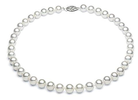 8–8,5mm 14K Or Blanc Eau Salée–Collier Femme–Perle de culture d'Akoya blanches de qualité AAA, 91,4cm