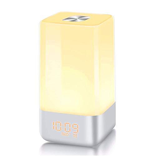 Lichtwecker,Wake up Licht Wecker Light LED Wecker mit Sonnenaufgang Simulation Tageslichtwecker mit Nachtlicht 5 Natur Sounds 3 Helligkeitsstufen 12/24 Stunden Modus Als Nachttischlampe verwendbar -