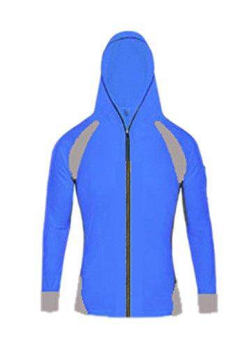 Geval Herren Outdoor UV-Sonnenschutz Schnelltrocknende Fischen-Hemden Shirts Mit Kapuze Blau
