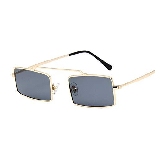 Kjwsbb Metall Sonnenbrille Männer Frauen Retro Übergroßen Platz Sonnenbrille Weiblich Männlich Gelb Rosa Objektiv Brille Big Frame Shades Brille
