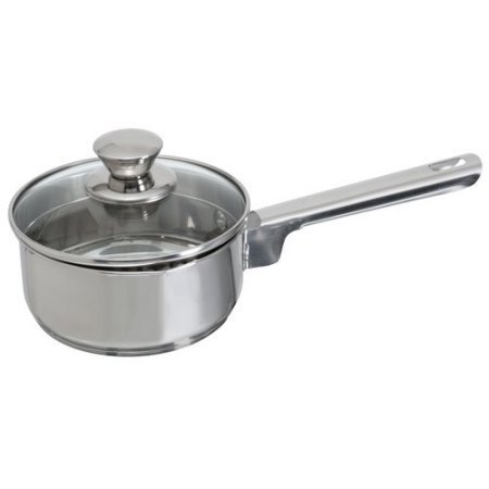 Mainstays Stainless Steel 1-Quart Sauce Pan with Straining Lid by (1 Quart Pan)