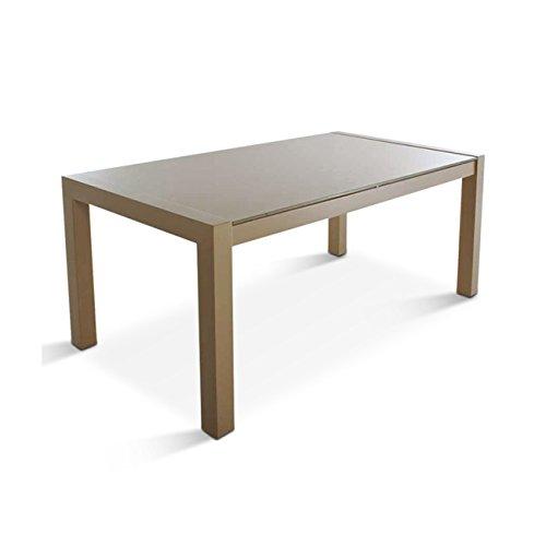 SAM® Design Esszimmer Tisch Zürich 180 x 90 cm Glastisch mit Metallgestell Cappuccino glänzend Esstisch aus Metall mit Tischplatte aus Milchglas Esszimmertisch Glas Cappuccino braun Metall lackiert -