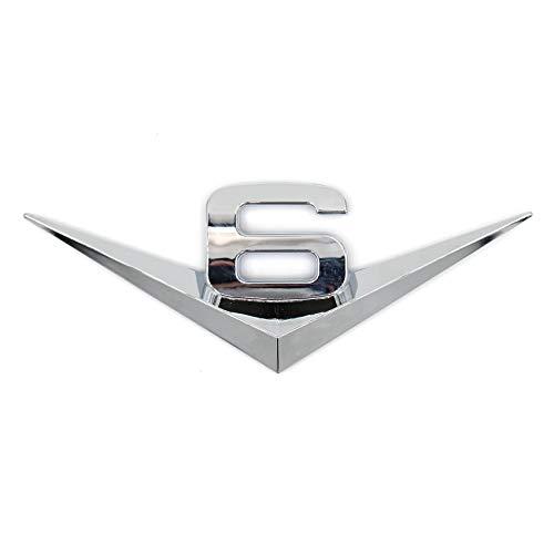 Emblema 3D V6 de plástico con espuma autoadhesiva en la parte trasera.
