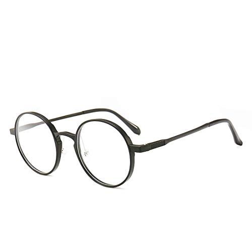 Mkulxina Vintage runde Brille Rahmen Mode Brille Nicht Brille für Frauen (Color : Black)