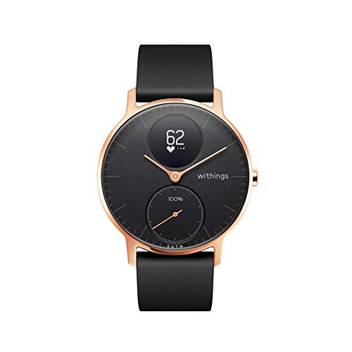 Nokia health Steel HR Rose Gold Reloj Conectado, Unisex Adulto, Silicona Negro, 36mm