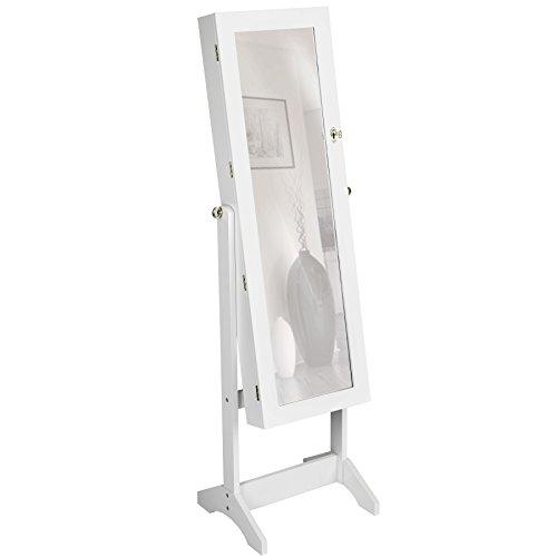 Wohnzimmer Spiegelschrank (TecTake Luxus Spiegelschmuckschrank mit extra großem Spiegel - diverse Farben - (Weiß | Nr. 400764))