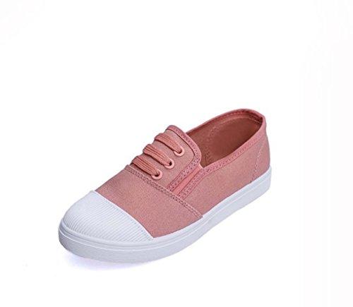 Scarpe Casual Scarpe Da Donna Scarpe Piatte Della Bocca Della Tela Di Canapa Pink