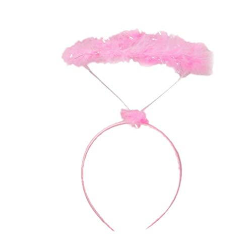 BOLAWOO-77 Stirnband Damen Fluffy Halo Engel Stirnband Fairy Fancy Dress Kostüm Stirnband Cosplay Haarband (Color : Rosa, Size : One Size) (Fairy Fancy Dress Kostüme)
