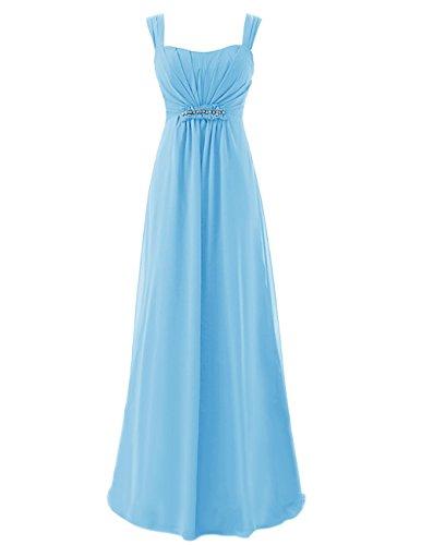 Dresstells Robe de cérémonie Robe de soirée avec bretelles forme empire longueur ras du sol Bleu
