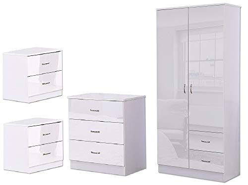 White High Gloss 4 Piece Bedroom...
