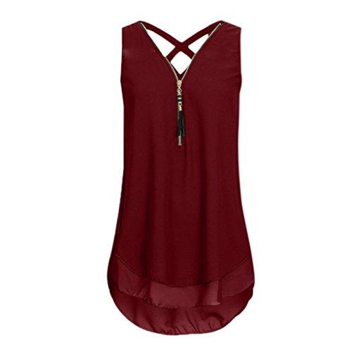 BHYDRY T-Shirt-Oberteile 10 Farben Damen Lose Übergröße Ärmelloses Tanktop Kreuz zurück Saum Gelegt Reißverschluss V-Neck T-Shirts Tops, S-5XL(Large,Wein)