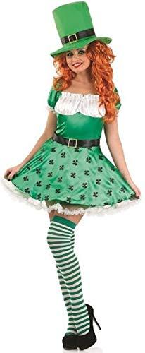 Fancy Me Damen Sexy grün Kobold St Patrick Tag + Strümpfe Kostüm Kleid Outfit 8-22 Übergröße - Grün, Grün, UK 20-22