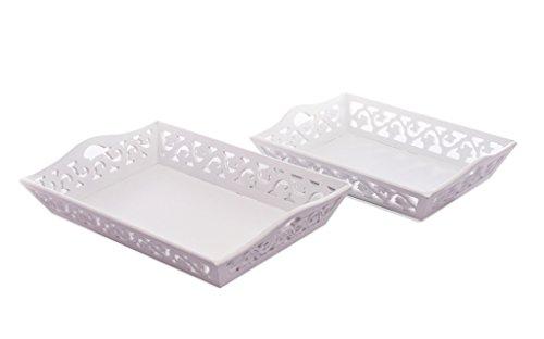 elbmöbel Tablett SET Holztablett antik weiß Landhaus 2 Stück Rosali barock Holz Küche