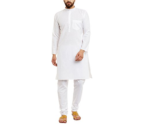 Sojanya Men's Linen Kurta Pyjama (Sjr-131-38_White_Medium)