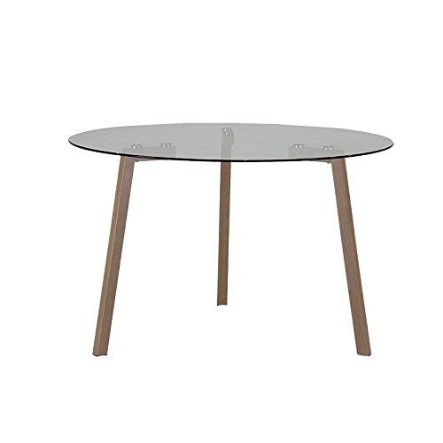 CEDEN CHAIR Table de Repas Ronde Olympe, Verre, Transparent, 120 x 120 x 75 cm