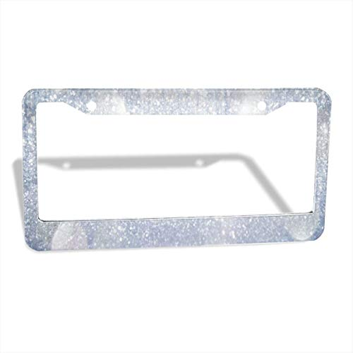 FunnyCustom License Plate Frame Diamond Cut Has The Best Sparkle Creative Aluminum License Plate Set Metal Tag Holder 12 x 6 Inch 2 Packs