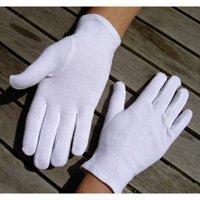 Adulte gant cousu 100% coton doux M - Blanc (lot de 5 paires)