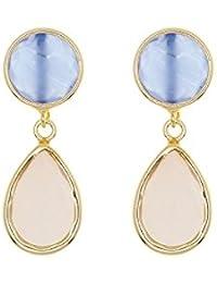 Córdoba Jewels | Pendientes en plata de Ley 925. Diseño Duo Esferas Calcedonia Rosé