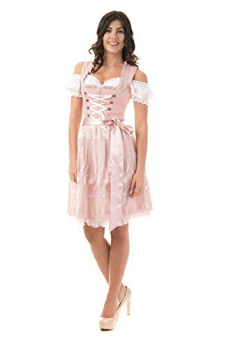 Trachtl.de Dirndl Trachtenkleid Damen Nicole IN ROSA 3.TLG 38