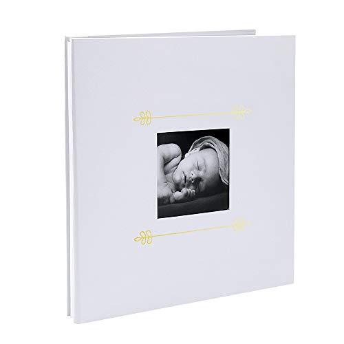 VEESUN Baby Fotoalbum zum Selbstgestalten Mit Fenster, 28cmx27cm Album 20 Sheets Selbstklebend Scrapbook zum Einkleben, Leinen Fotobuch Gästebuch, Baby Shower Geschenk, Weiß, MEHRWEG