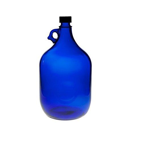 Viva Haushaltswaren - blaue XXL Glasflasche mit schwarzem Schraubverschluss für 5 Liter zum Selbstbefüllen Blau Glas