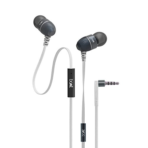 boAt BassHeads 225 In-Ear Headphones with Mic (Frosty White)