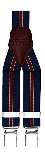 Brucle bretelle uomo elastiche regolabili con dorsale in cuoio, forma a y, fissaggio a clip, colore regimental blu
