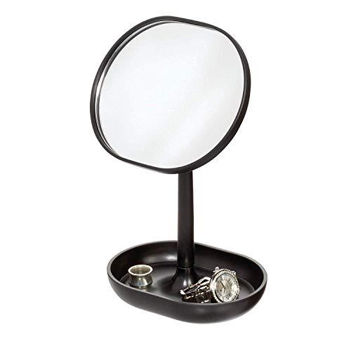 IDesign pie, pequeño redondo de plástico, espejo de baño giratorio con bandeja para guardar maquillaje...