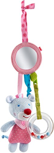 HABA 303877 - Spielfigur Maus Merle |Baby-Spielzeug zum Festbinden mit Kuscheltier, Spiegel und Rassel | Spielzeug ab 6 Monaten
