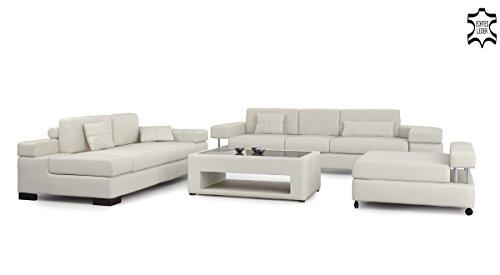 Ledersofa Sofagarnitur Couchgarnitur weiß Ledercouch 3-Sitzer + Daybed + XL Hocker Ecksofa Couch Design Sofa VALENTINO - 4