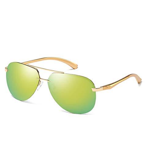 CHEREEKI Polarisierte Sonnenbrille für Herren Damen Pilotenbrille mit UV400 Schutz Metallrahme (Gold, Grün)