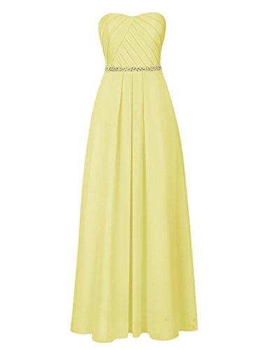 Dresstells Damen Strapless Brautjungfer Kleider Chiffon Ballkleid Abendkleid Lang Gelb