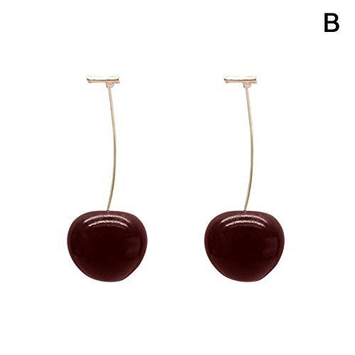 LIWEISDSDFS Frühling Süße Rote Kirsche Ohrringe Süße Kirschen Ohrringe Korea Acetat Harz Ohrringe Schmuck Weiblichen Langen Abschnitt