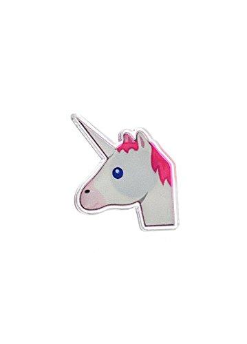 Punky Pins Unicorn Emoji Emoticon Cute Acrylic Pin White