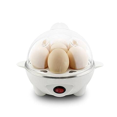 Ourmall elektrischer Ei-Boiler-Kocher für bis 7 Eier, Wilderer und Dampfer-Schüssel mit CER, ROHS, FCC Bescheinigung (Weiß)