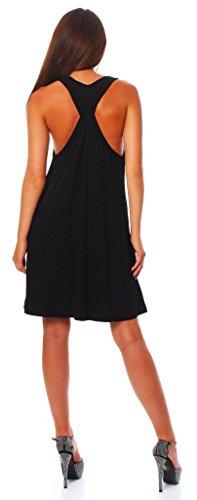 Trapez Kostüm Frauen - Wil Damen Sommer Kleid Minikleid Top Tunika Trägerkleid mit offenen Schultern mit Kreuz am Rücken Schwarz XL